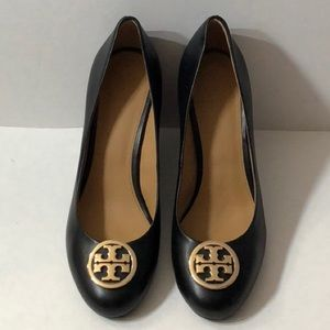 Tory Burch black wedge shoes